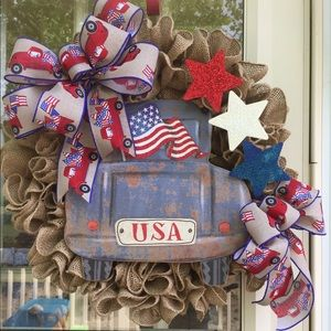 Other - Burlap Fourth of July wreath